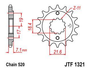 Pignon JT SPROCKETS 13 dents acier pas 520 type 1321 Honda XR250R - 46132113