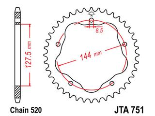 Couronne JT SPROCKETS 40 dents alu ultra-light anti-boue pas 520 type 751 - 470177