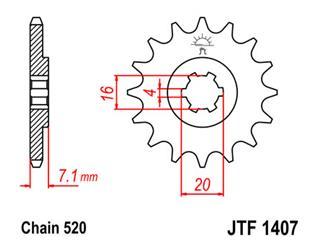 Pignon JT SPROCKETS 10 dents acier pas 520 type 1407 - 46140710