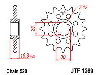 Pignon JT SPROCKETS 16 dents acier pas 520 type 1269 - 46126916