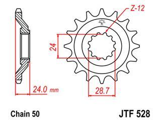 Pignon JT SPROCKETS 17 dents acier pas 530 type 528 - 46052817