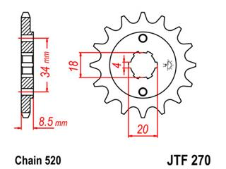 Pignon JT SPROCKETS 14 dents acier pas 520 type 270 - 46027014