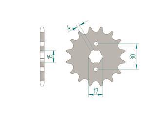 Pignon AFAM 16 dents acier standard pas 420 type 20101 Honda CB 50 J