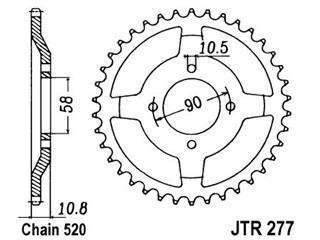 Couronne JT SPROCKETS 45 dents acier pas 520 type 277 - 47027745