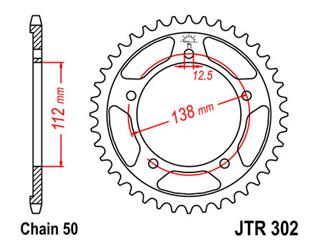 JT SPROCKETS Rear Sprocket 42 Teeth Steel Standard 530 Pitch Type 302