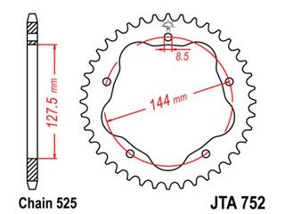 Couronne alu 36 dents JT Sprockets ultra-light type 752 chaîne 525 ultra-light DUCATI 916, 996, 998 & MULTISTRADA 1000 - 470179