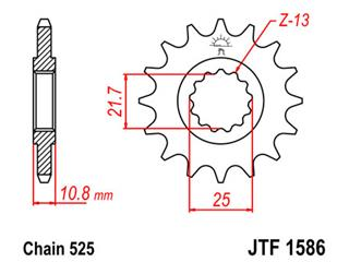 JT SPROCKETS Front Sprocket 17 Teeth Steel 525 Pitch Type 1586