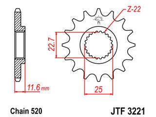 Pignon JT SPROCKETS 11 dents acier pas 520 type 3221 Polaris - 46322111