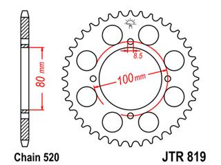 Couronne JT SPROCKETS 39 dents acier pas 520 type 819 - 47081939