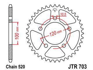 Couronne JT SPROCKETS 44 dents acier standard pas 520 type 703 - 47070344