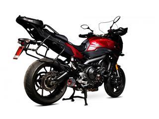 SCORPION Serket Taper Carbon Slip-On/Black ABS End Cap Yamaha Tracer 900