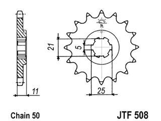 Pignon JT SPROCKETS 16 dents acier pas 530 type 508 - 46050816
