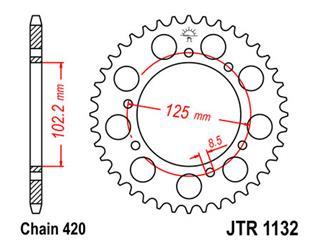 Couronne JT SPROCKETS 53 dents acier pas 420 type 1132 - 47113253