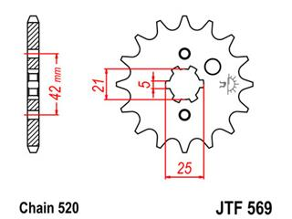 JT SPROCKETS Front Sprocket 13 Teeth Steel Standard 520 Pitch Type 569