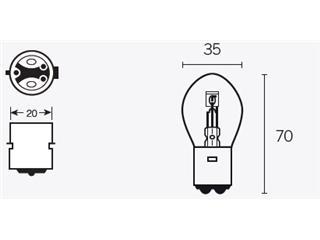 Ampoule V PARTS B35 12V/35/35W culot BA20D 10pcs