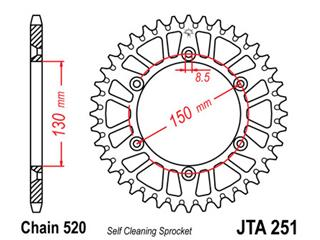 JT SPROCKETS Rear Sprocket 50 Teeth Aluminum Ultra-Light Self-Cleaning 520 Pitch Type 251