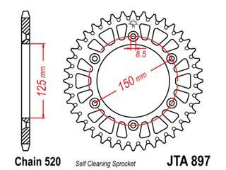 Bakdrev JT Aluminium Ultra-light Self-Cleaning 45 Kuggar - typ 897 - 520 Pitch  JTA897.45