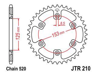 JT SPROCKETS Rear Sprocket 51 Teeth Steel Standard 520 Pitch Type 210