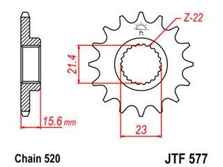 Pignon JT SPROCKETS 16 dents acier pas 520 type 577 Yamaha - 4657716
