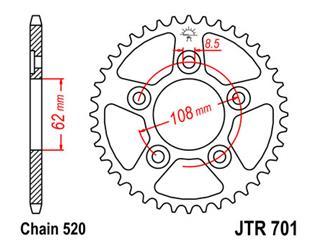 JT SPROCKETS Rear Sprocket 42 Teeth Steel Standard 520 Pitch Type 701