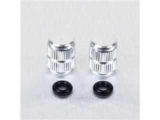 Pair of Pro-Bolt silver aluminium tyre valve caps