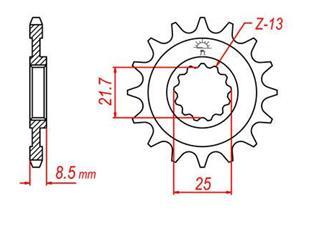 Pignon acier 14 dents JT chaîne 525 Kawasaki Z1000