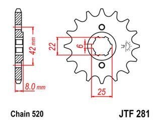 Pignon JT SPROCKETS 15 dents acier pas 520 type 281 - 46028115