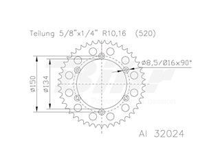 Corona ESJOT Aluminio plata 51-32024-53 dientes