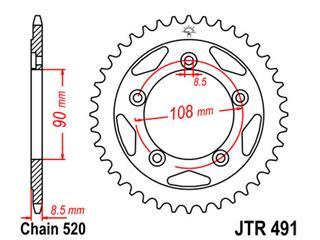 Couronne JT SPROCKETS 40 dents acier pas 521 type 491 - 47049140