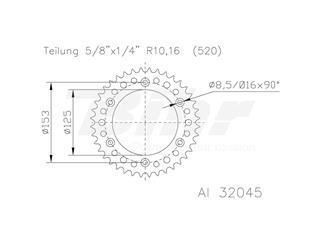 Corona ESJOT Aluminio negro 51-32045-52BP dientes