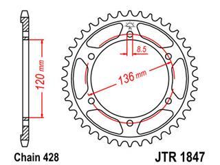Couronne JT SPROCKETS 55 dents acier standard pas 428 type 1847 - 47184755