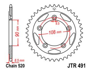 JT SPROCKETS Rear Sprocket 38 Teeth Steel Standard 520 Pitch Type 491