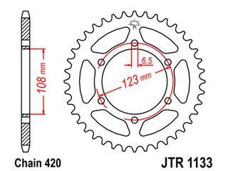 Couronne JT SPROCKETS 53 dents acier pas 420 type 1133 - 47113353