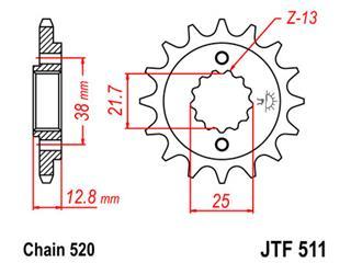Pignon JT SPROCKETS 14 dents acier pas 520 type 511 - 46051114