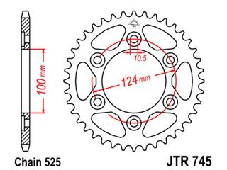 JT SPROCKETS Rear Sprocket 38 Teeth Steel 525 Pitch Type 745