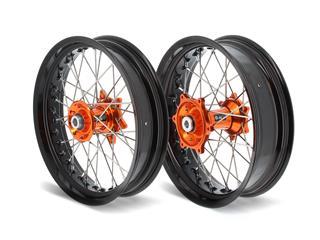 ART SM Complete Front + Rear Wheel 17x3,50/17x5,00 Black Rim/Orange Hub KTM