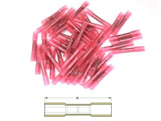 BIHR Heat-shrinkable Crimping Butt Splices Ø0,5/1,5mm² - 50pcs Transparent Red