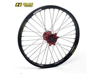 HAAN WHEELS Compleet Voorwiel 19x1,40x32T Zwart Velg/Rood Naaf/Zilver Spaaken/Zilver Spaakennippel