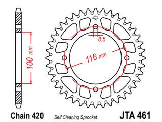 JT SPROCKETS Rear Sprocket 54 Teeth Aluminum Ultra-Light Self-Cleaning 420 Pitch Type 461
