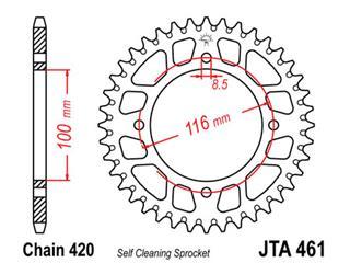 Couronne JT SPROCKETS 54 dents alu ultra-light anti-boue pas 420 type 461 Kawasaki KX80 - 470130
