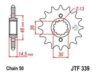 Pignon JT SPROCKETS 15 dents acier standard pas 530 type 339 - 910d61d5-a5b2-4ed3-979c-edabf6a6ebd7