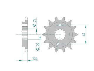 Pignon AFAM 13 dents acier standard pas 520 type 20517 Honda XR 650 R