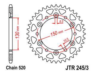 JT SPROCKETS Rear Sprocket 43 Teeth Steel Standard 520 Pitch Type 245/3