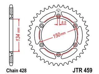 JT SPROCKETS Rear Sprocket 52 Teeth Steel Standard 428 Pitch Type 459