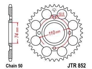 Stahl-Kettenrad JT Sprockets 41 Zähne Typ 852, Kette 530 RD250LC