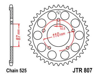 JT SPROCKETS Rear Sprocket 48 Teeth Steel Standard 525 Pitch Type 807