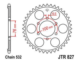 JT SPROCKETS Rear Sprocket 42 Teeth Steel 520 Pitch Type 827