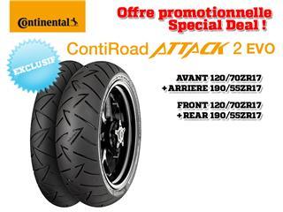 Train de pneus Sport-Touring CONTINENTAL ContiRoadAttack 2 EVO (120/70 ZR 17 + 190/55 ZR 17)