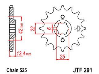 JT SPROCKETS Front Sprocket 15 Teeth Steel Standard 525 Pitch Type 291