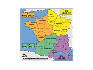 GPS Globe IGN Map 1/4 France Northwest 1/25000e